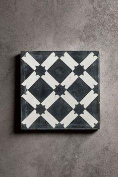 Handmade Concrete Tile - Black and White Star Design