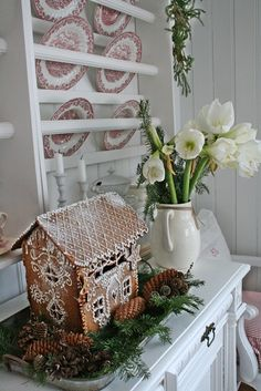 Beautiful decorated Gingerbread House for Christmas. VIBEKE DESIGN: