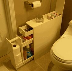 Smart way to add a little extra storage in a small bathroom. Proman Bath Floor Cabinet - Space Savers at Hayneedle Bathroom Floor Cabinets, Bathroom Flooring, Rv Bathroom, Bathroom Ideas, Tiny Bathrooms, Bathroom Hacks, Compact Bathroom, Master Bathroom, White Bathroom