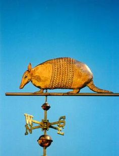 Armadillo Weather Vane by West Coast Weather Vanes.  This Armadillo Weathervane was created all in copper, with distinct tooling to mimic its armored plates and scaly tail.  A glass eye gives it a realistic look, particularly when the sun glints through it.