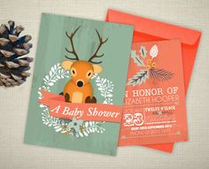 Woodland Deer - Personalised Baby Shower Invitation www.poppywynterdesigns.com