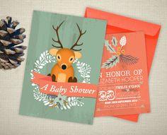 Woodland Deer - Personalised Baby Shower Invitation www.poppywynterdesigns.com