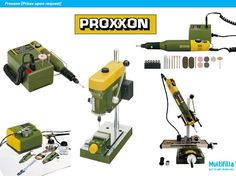 Wide assortment of Proxxon precision tools available to drill, cut, polish and set crystals and stones from www.multifilla.com {Art.Craft.Materials}