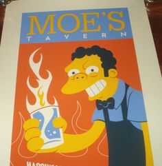 Dave Perillo The Simpsons Moe's Tavern Poster Print Signed SDCC COA Mondo | eBay