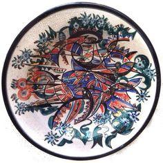 UMBERTO MASTROIANNI (1910-1998) COMPOSIZIONE DIPINTO SU PIATTO IN CERAMICA 52cm