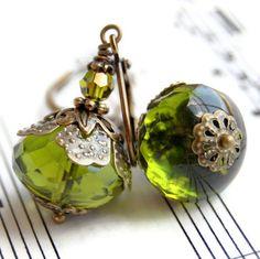 Green Glass Earrings Olive Green Czech Glass by GreenRibbonGems, $20.00
