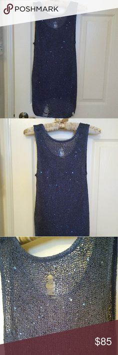 One Teaspoon Sparkle Distressed Tunic Like new.  Purposely distressed details with sequin sparkles in front.  Hi low hem, lower in front.  Side slits.  Perfect beach vibes. One Teaspoon Tops