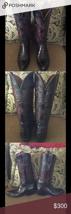 Lucchese Full Ostrich Boot Beautiful Lucchese full ostrich black cherry boot, size 6B, 13 inch shaft. Look new! Lucchese Shoes Heeled Boots