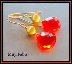 Orange Quartz and Gold Vermeil Earrings