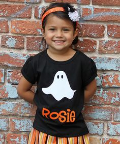 Take a look at this Black Ghost Personalized Tee - Infant, Toddler & Girls by Gus & Lola on #zulily today!