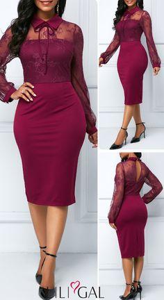 Keyhole Back Flat Collar Sheath Dress Elegant Dresses, Sexy Dresses, Beautiful Dresses, Nice Dresses, Casual Dresses, Formal Dresses, Church Dresses, African Fashion Dresses, Fashion Outfits