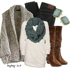 Great go to pieces.. Id skip the earrings.. Wear the big cardi with it when your outside!