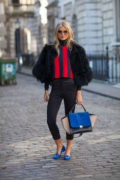 A crop fur needs crop pants and crop shoes.... Street Style Fall 2013 - London Fashion Week Street Style - Harpers BAZAAR durupaper.com #kate_spade