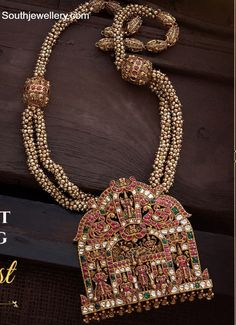 South Indian Jewellery, Indian Jewellery Design, Indian Jewelry, Jewelry Design, Gold Temple Jewellery, Gold Jewelry, Antique Necklace, Pendant Jewelry, Wedding Jewelry
