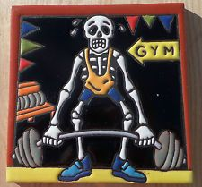 "Talavera Mexican tile 6"" Day of  the Dead hi relief Man Fitness Gym Bar bells"