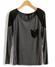 Gray Long-Sleeve T-Shirt with Black Chiffon Shoulders and Patch Pocket $33