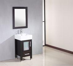 "18 Inch Espresso Oak Wood & Porcelain Single Vessel Sink Bathroom Vanity Set with Chrome Faucet- ""Stone"" Discount Bathroom Vanities, 24 Inch Bathroom Vanity, Small Bathroom Vanities, Bathroom Fixtures, Modern Bathroom, Bath Vanities, Vanity Tops With Sink, Vessel Sink Vanity, Vanity Set"