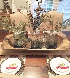 Isn't this vintage centerpiece adorable? It had me at dough bowl! It belongs to my sweet friend, Carla @ourhouseofthree whose heart and home are so lovely! #onetofollow