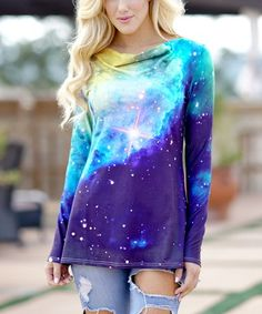This Blue & Green Galaxy Cowl Neck Tunic - Women, Juniors & Plus is perfect! #zulilyfinds