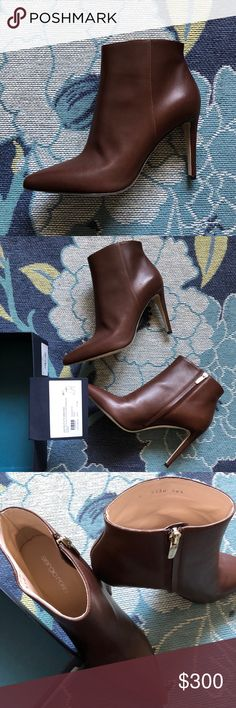 Sergio Rossi Scarpe Donna booties in chocolate The most gorgeous boots! Sergio Rossi makes stunning, high quality designer shoes that are so comfortable! These are perfect everyday booties for work or leisure. Can be dressed up or down. Inner zipper closure. Never worn. See all photos. Comes with box (no top). Authenticity card attached to box as shown in photos.  These are a 38.5 but fit me perfectly. I'm a true 8. Listed as such! 🙂 Sergio Rossi Shoes Ankle Boots & Booties
