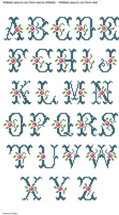 Blue Monogram with Pink Flower Cross Stitch Patterns Alfabeto azzurro con fiore rosa Cross Stitch Alphabet Patterns, Cross Stitch Letters, Cross Stitch Borders, Cross Stitch Flowers, Cross Stitch Designs, Cross Stitching, Cross Stitch Embroidery, Stitch Patterns, Etsy Embroidery