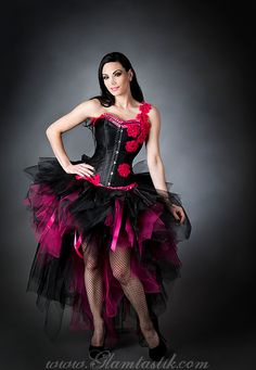 Custom Size hot pink and black floral one shoulder tulle corset burlesque prom dress small-Xl