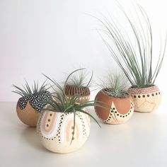 Air Plant Pod Holder with Air Plant. Hand painted Terrarium Modern Boho Decor Modern Desk Accessory - All For Herbs And Plants Painted Plant Pots, Painted Flower Pots, Ceramic Flower Pots, Ceramic Plant Pots, Faux Succulents, Faux Plants, Pots For Plants, Pintura Tribal, Modern Desk Accessories