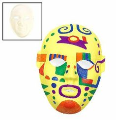 Decorate Your Own Paper Masks (6 pc) by Fun Express. $12.99. Paints sold separately.. Pre-shaped Paper-Mache Masks.. Measure 5 1/2 Inches x 8 1/4 Inches.. 6 pcs. per set.. Design Your Own Masks help the children to enhance their creativity and imagination. Age Recommendation  Ages 5 & Up: Containing medium-sized pieces with the occasional angular edge, these lightweight to sturdy crafts may require some assembly such as stringing beads or gluing items to create a 3-dim...