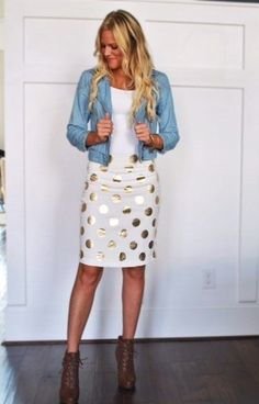 This combination of a baby blue leather moto jacket and a white polka dot pencil skirt is perfect for off-duty occasions. A pair of dark brown leather ...