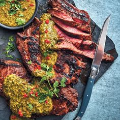 This marinated flank with chimichurri sauce is a perfect alternative to creamy sauces. Chimichurri, Beef Flank Steak, Creamy Sauce, Perfect Food, Beef Recipes, Sauces, Family Website, Dinner Recipes, Good Food