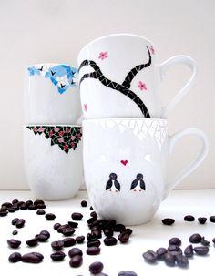 Mixed Mosaic Painted Coffee Mugs Set of 4 by MeKu on Etsy