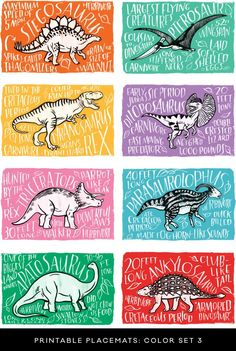 Fun Fact Placemats: Dinosaur mats for dinosaur party Dinosaur Activities, Activities For Kids, Crafts For Kids, Dinosaur Birthday Party, 3rd Birthday, Kids Playing, Party Time, Fun Facts, Random Facts