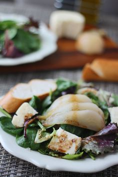 Poached Pear & Brie Salad with Honey Balsamic Dressing add 2 cloves garlic and double