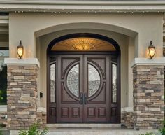 House Front Door Unique Double Front Doors with Stone Porch for Popular House Regard to 10 - Home Decoration Ideas Stone Exterior Houses, Stucco Exterior, Exterior Front Doors, House Paint Exterior, Stucco Siding, Home Door Design, House Design Photos, Front Door Design, Entrance Design