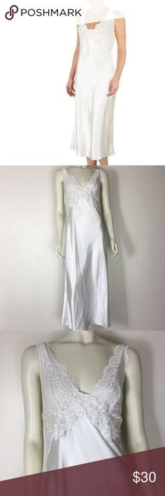 """Cinema Etoile Long Satin Lace Bridal White Gown M Cinema Etoile Long Sleep Gown!  -Women's size medium  -Length measures approximately 51"""" -Satin tie on back allows for slight adjustment in length  -Cut with a lace halter neckline and a body made of silky satin -Features lace galloon and a concord medallion with embellishments -Bridal, nightgown, lingerie Cinema Etoile Intimates & Sleepwear Chemises & Slips"""