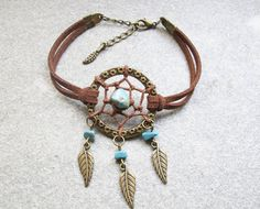 Antique Bronze Dream Catcher Bracelet , Feather Bracelet , Turquoise Beads Bracelet ,Native American Jewelry