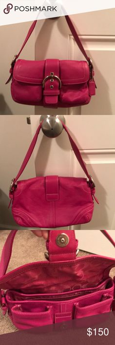 Authentic coach purse Super cute coach purse has 2 pockets on the outside for lip gloss or small cosmetics. Has 1 zipper pocket inside and 2 more inside pockets. Gently used coach purse. I take excellent care of my bags. Stitching is in excellent condition as well. Coach Bags Hobos