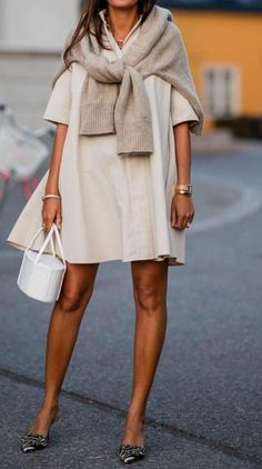 awesome outfit with a white bag / beige sweater + heels + dress Weekly new trends in clothes, shoes Beige Pullover, Beige Sweater, Dress With Sweater, Mode Outfits, Fashion Outfits, Womens Fashion, Fashion Tips, Heels Outfits, Fashion Websites