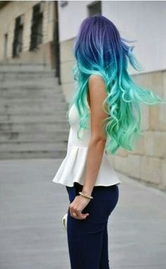 Mermaid hair- ok the color is definitely out there but the length is fab!!!!