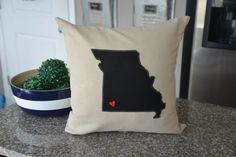 Black Missouri Pillow Cover Any state custom by HomeSweetMichigan