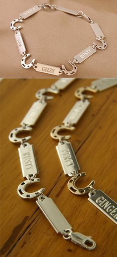Oh my gosh, in love with this website.... Sooo coool!!  Sterling Silver Horseshoe and Nameplate Bracelet