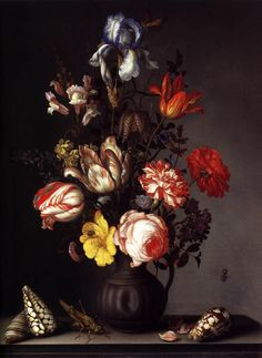 Balthasar van der Ast, Flowers in a Vase with Shells and Insects Date, 1630