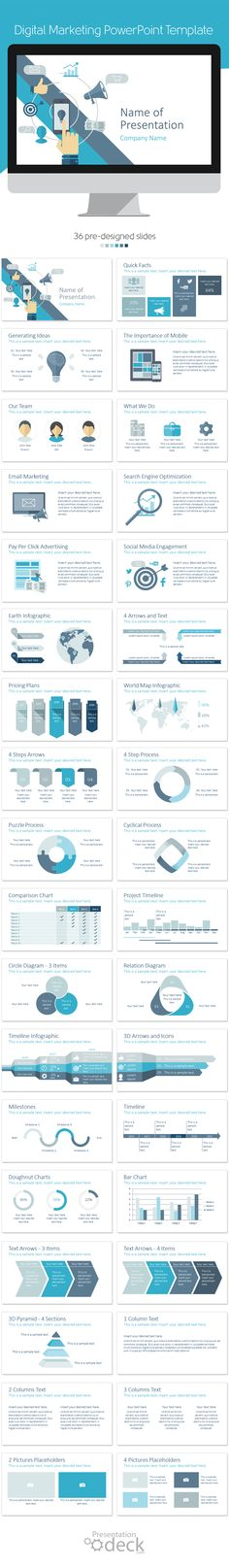 Digital marketing PowerPoint template in flat design style including 36 pre-designed slides. This theme is perfect for interactive agency, presentations on digital strategies, SEO, SMO, etc. #powerpoint #presentations