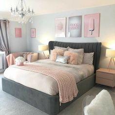 Grey Bedroom Decor, Bedroom Decor For Teen Girls, Room Design Bedroom, Stylish Bedroom, Small Room Bedroom, Room Ideas Bedroom, Teen Bedrooms, Master Bedroom, Light Pink Bedrooms