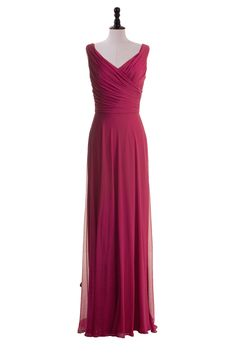 Simple Floor Length V-Neck Chiffon Gown