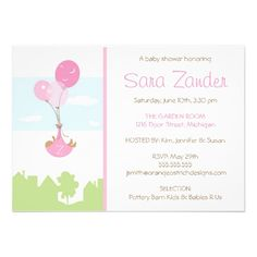 Monogram Balloon Baby Shower Invitation - Girl