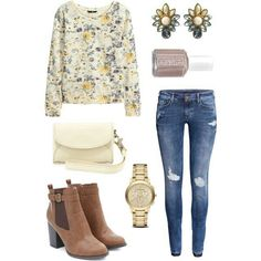 Floral sweater, ripped jeans, brown booties