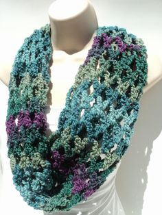 FREE Pattern First Love Crochet Net Cowl - infinity scarf - head scarf - blue, purple, green view