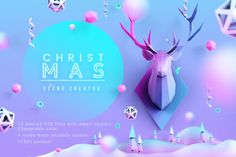 Ad: Christmas Scenes Creator by HelenStock on Hello! Welcome to HelenStock on Creative Market! Are you tired of the monotony of Christmas designs? I bring to your attention a new look at Design Typography, Typography Poster, Scene Creator, The Creator, Graphic Illustration, Illustrations, Watercolor Illustration, Texture Web, Christmas Poster