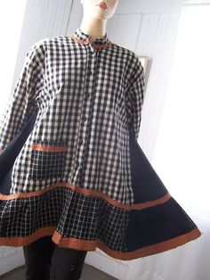 Upcycled Shirt Jacket Tunic A-Line Dress Reconstructed Black White Plaid Patchwork from Mens Shirts Plus Size
